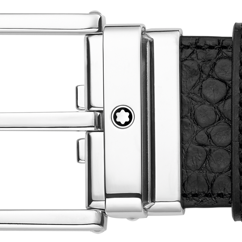 Montblanc -Montblanc Shiny Square Palladium-Coated Pin Buckle Belt 126737-126737_2